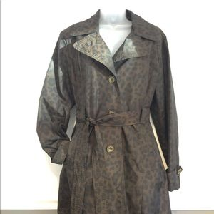 Dana Buchman trench coat blk. & brown animal print